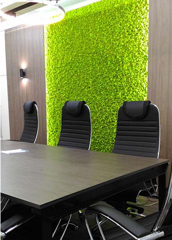 Вертикальное озеленение стабилизированным мхом в комнате для переговоров, г. Киев